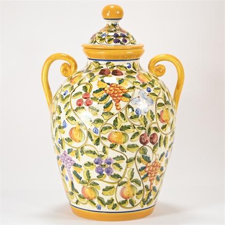 Large Hand Painted Deruta Lidded Vase