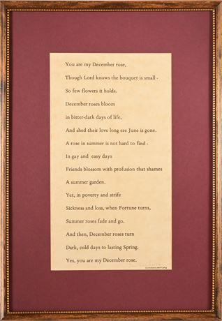 December Rose Framed Poetry