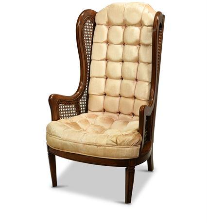 High Back Cane Wingback Chair