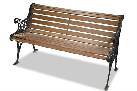 Antique Park Style Iron and Wood Bench