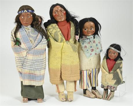(4) Vintage Skookum Dolls