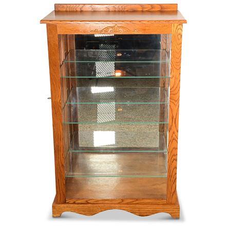 Lighted Oak Curio Cabinet