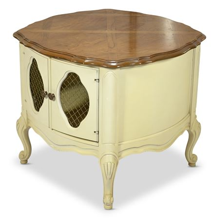 French Provincial Drum Side Table