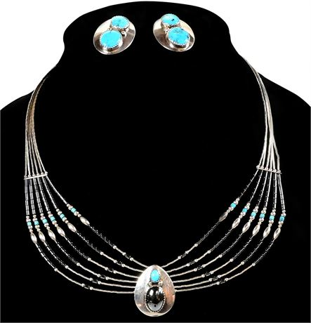 Navajo Necklace and Earring Set by H. T. Nez