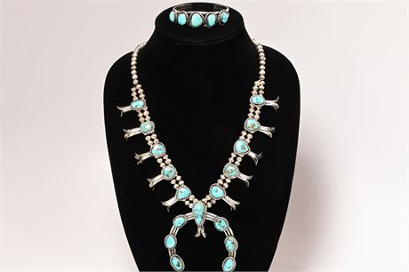 Navajo Pawn Sterling Silver and Turquoise Squash Blossom and Cuff Set