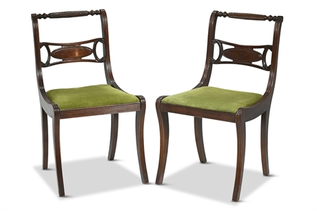 Pair Antique Mahogany Empire/Regency Side Chairs