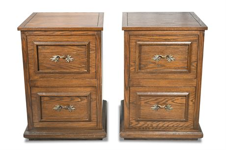 Pair Solid Oak Filing Cabinets
