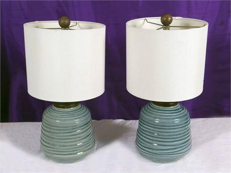 Robin Egg Blue Ceramic Lamps