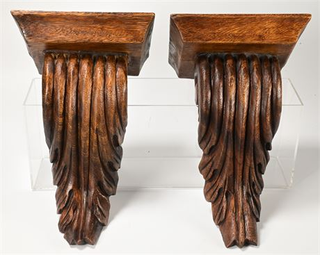 Carved Wood Corbel Style Wall Shelves