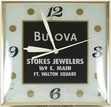Vintage Lighted Bulova Jewelers Wall Clock