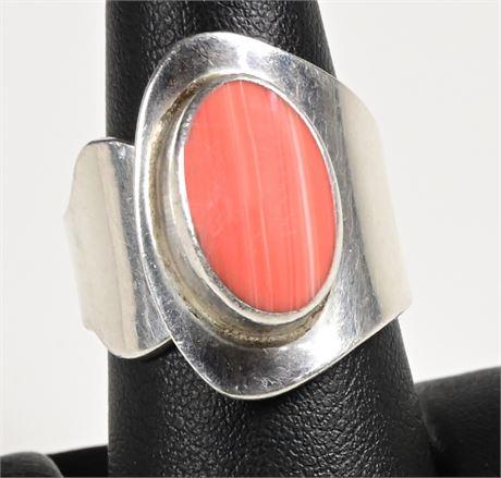 Sterling and Rhodochrosite Ring