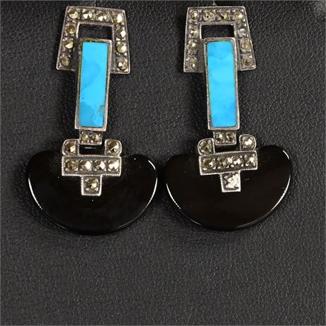 Sterling, Turquoise, Jet, and Marcasite Earrings