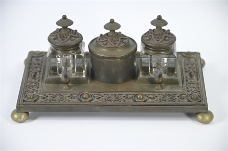 1880's Brass/Bronze French Empire Inkwell