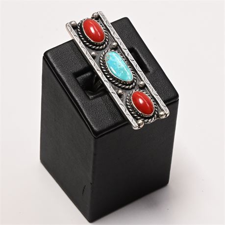 Mid-Century Navajo Turquoise, Coral, and Sterling Ring