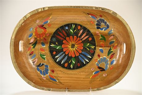 Hand Painted Wood Serving Bowl