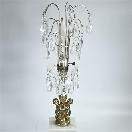 Mid-Century Marble Base Cherub Lamp