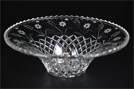 Crystal Pressed and Etched Glass Bowl