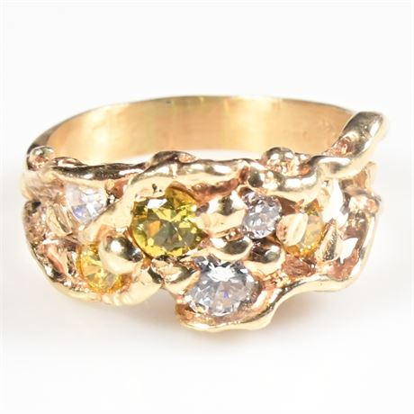 14K Gold Nugget and CZ Ring