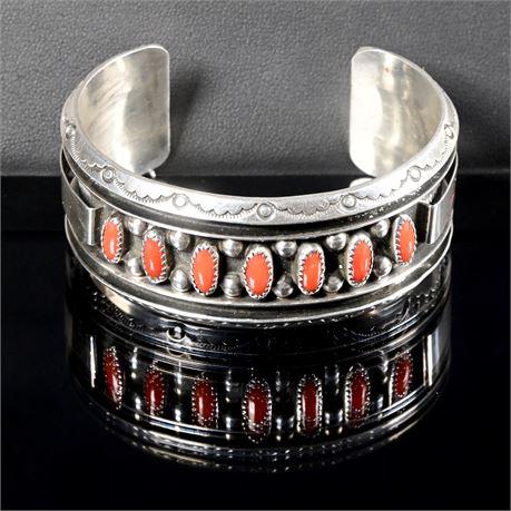 Jackie Singer Navajo Sterling and Coral Bracelet
