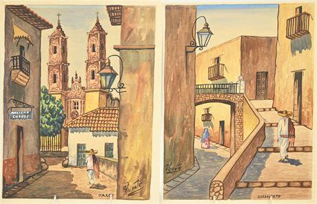 Pair Vintage Taxco Watercolors
