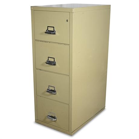 "FIRE VAULT: Fire King Four Drawer 31"" Deep Vertical Letter Size File Cabinet"