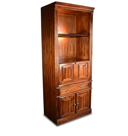 Lighted Bookcase Cabinet with Bar