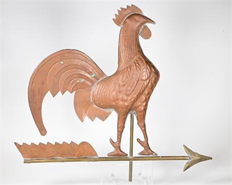 Copper Rooster Weathervane Topper