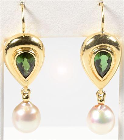 18K Tourmaline and Pearl Earrings