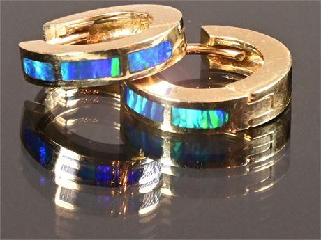 14K Gold and Fire Opal Earrings