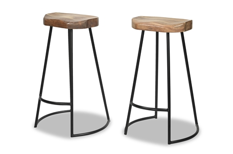Pair Contemporary Iron and Wood Stools