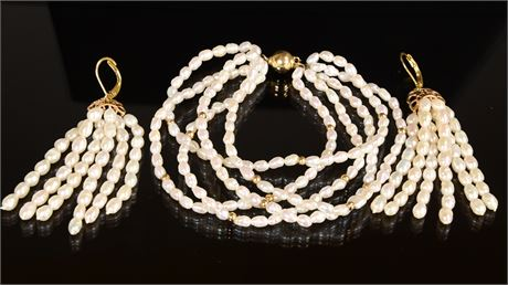 Natural Freshwater Pearl Bracelet and Earring Set