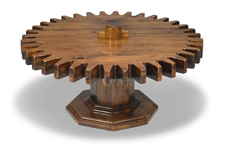 Vintage Ethan Allen Kling Cogwheel Gear Sprocket Spring Coffee Table
