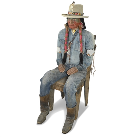 Realistic Life Size Sitting Mannequin Native American