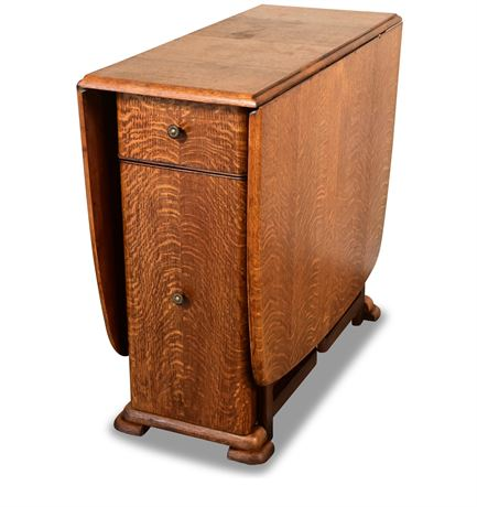 Tiger Oak Drop-Leaf Table