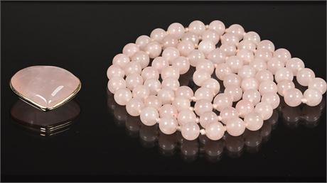 Beaded Rose Quartz Necklace and Heart Pendant