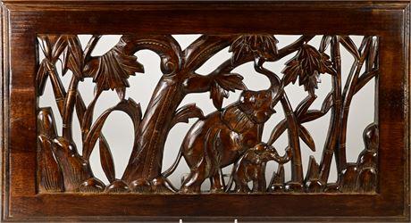 Carved Elephant Decor Panel