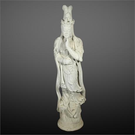 Vintage 5.5' Buddhist Cast Stone Garden Sculpture