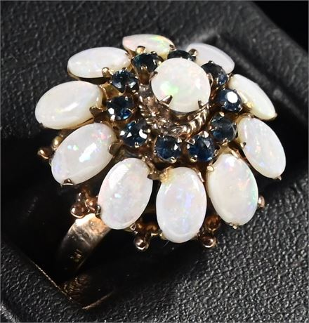 18K Gold Opal and Sapphire Ring