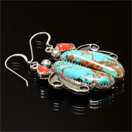 Vintage Navajo Turquoise, Coral, and Sterling Earrings