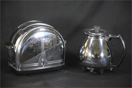 Vintage Chrome Sunbeam Toaster and Coffee Maker