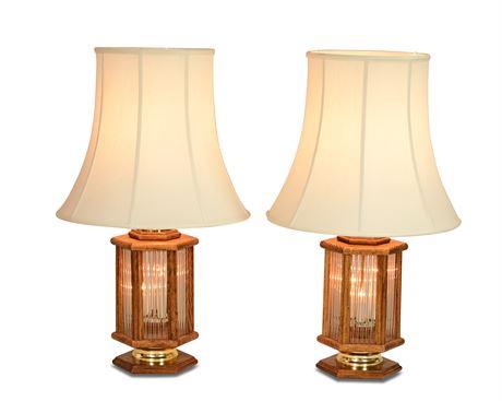 Pair Vintage Oak Lamps