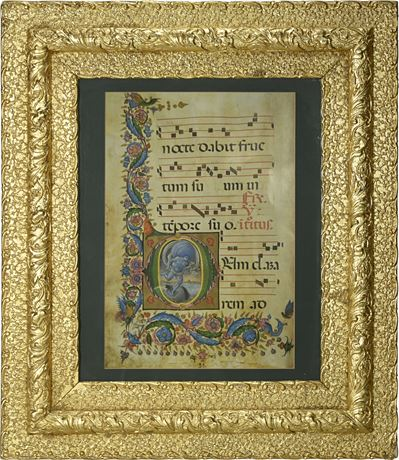 Gilded Frame with Antiphonary Print