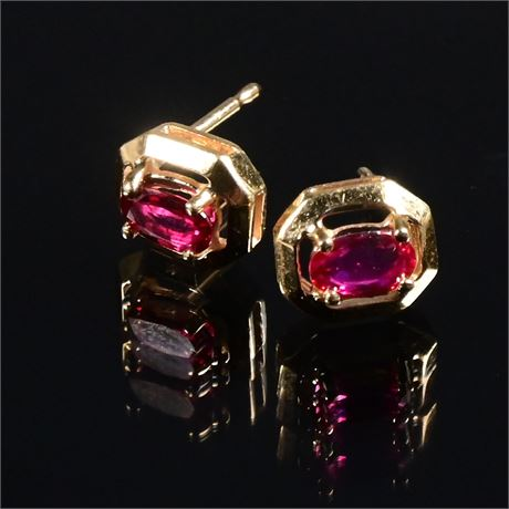 14K Ruby Earrings