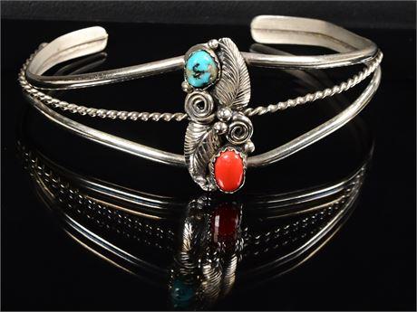 Vintage Navajo Turquoise and Coral Bracelet